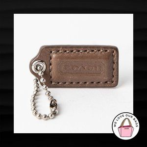 1.5″ Small COACH BROWN LEATHER SILVER KEY FOB